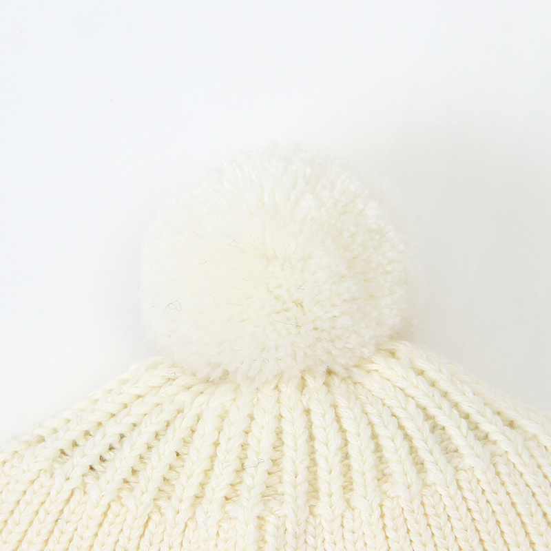Baby Knitted Solid Long-sleeve Jumpsuit and A Pom-pom Design Hat