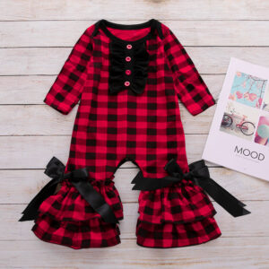 Ruffled Design Bow Decor Plaid Jumpsuit for Baby Girl