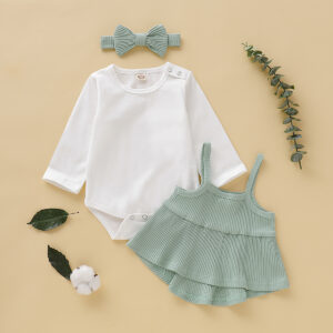 3-piece Baby Girl Shoulder Snap Solid Bodysuit and Strappy Top Set