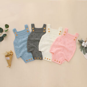 Baby Knitted Solid Strappy Sleeveless Romper