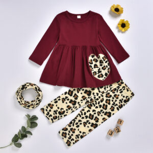 Baby / Toddler Girls Leopard Print Dress and Pants with Headband Set