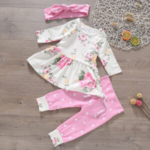 3-piece Baby Girl Lovely Floral Longsleeves Top and Polka Dots Pants with Headband Set