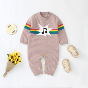 Baby Striped Music Knitted Jumpsuit