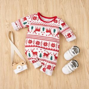 Baby Christmas Elk Print Jumpsuits