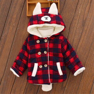 Baby / Toddler Girl Plaid Cartoon Ear Decor Long-sleeve Hooded Coat