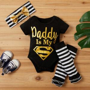 Baby 3-piece Superman Bodysuit Striped Warmer and Headband