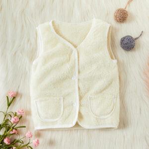 Toddler Solid Fluff Pocket Casual Vest