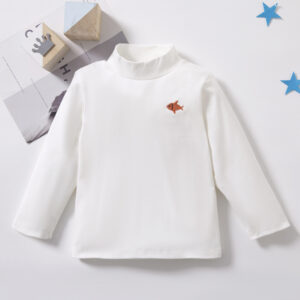 Baby / Toddler Causal Embroidered Solid Hight Neck Long-sleeve Tee