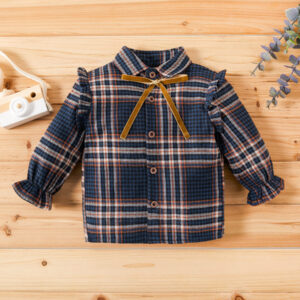 Baby / Toddler Girl Plaid Flutter-sleeve Shirt