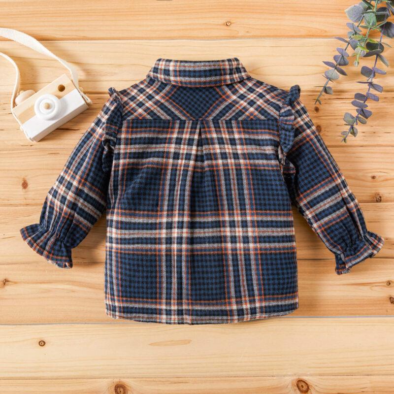 Baby / Toddler Girl Plaid Flutter-sleeve Shirt
