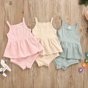 Baby Girl Solid Sling Top and Shorts Set