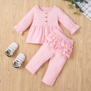 Baby Girl Sweet Solid-Flounced Sets