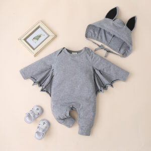 2-piece Baby Solid Bat Halloween Jumpsuits with Hat