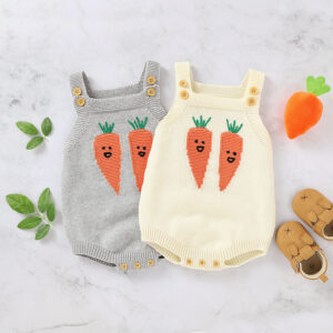 Baby Carrot Button Decor Knitted Strappy Romper