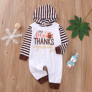 Baby Thanksgiving Striped Hooded Jumpsuit