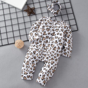 2-piece Baby Heart Allover Jumpsuit with Headband