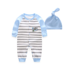 2-piece Baby Striped Jumpsuit with Hat