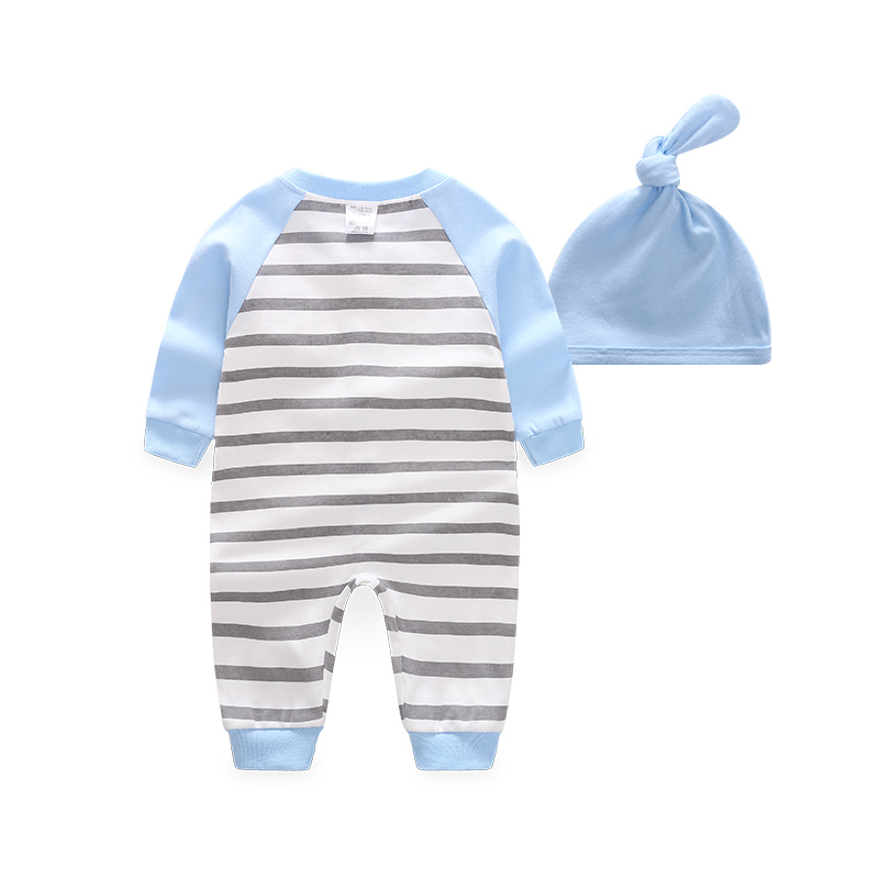 2-piece Baby Car Striped Jumpsuit with Hat