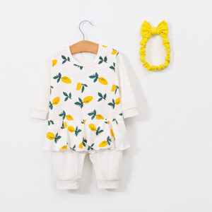 2-piece Baby Lemon Jumpsuit with Headband