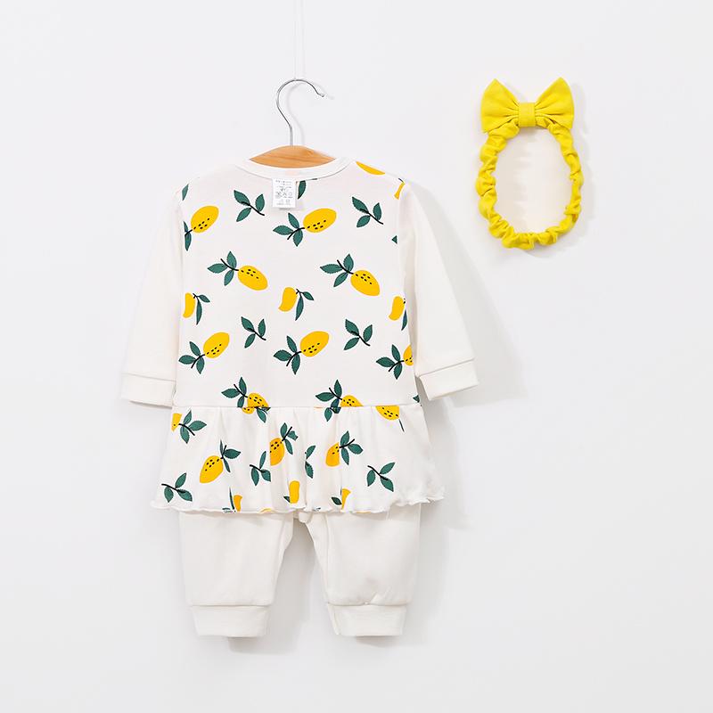 2-piece Baby Lemon Jumpsuit with Headband