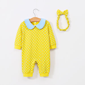 2-piece Baby Polka Dots Doll Collar Jumpsuit with Headband