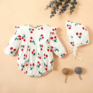 Baby Girl Sweet Cherry Romper with Hat