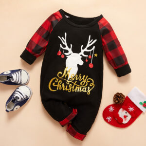 Baby Merry Christmas Elk Plaid Jumpsuit