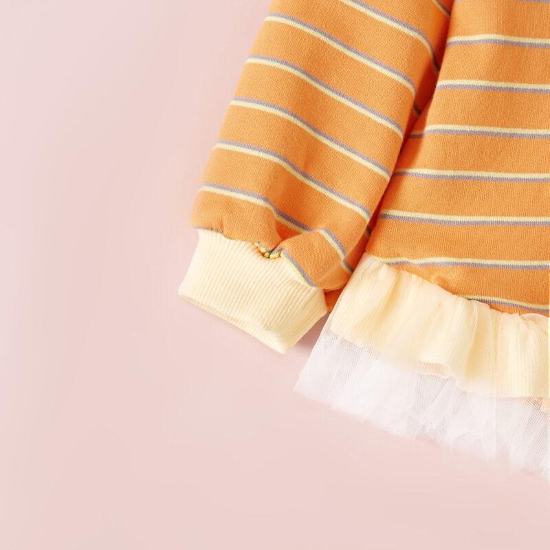 Baby / Toddler Girl Cherry Striped Splice Mesh Long-sleeve Pullover