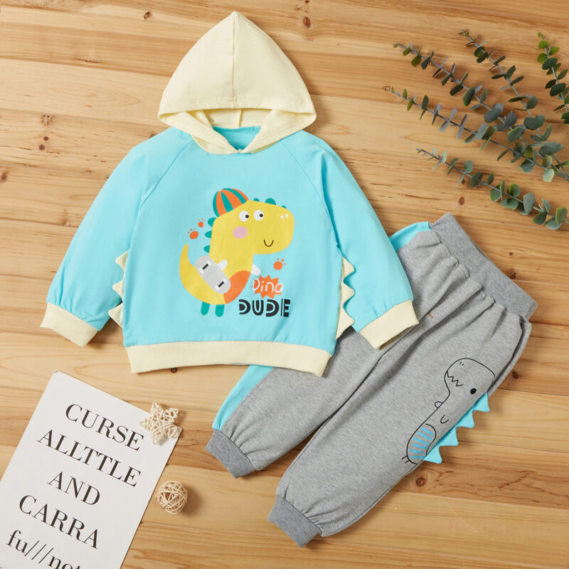 2-piece Baby / Toddler Cute Dinosaur Hooded Long-sleeve Pullover and Pants Set