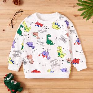 Baby / Toddler Letter Cartoon Dinosaur Print Long-sleeve Pullover