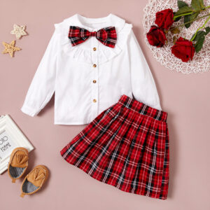 2-piece Baby / Toddler Preppy Style Top and Plaid Skirt Set