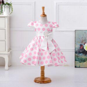 Baby / Toddler Girl Bowknot Decor Polka Dots Flutter-sleeve Dress
