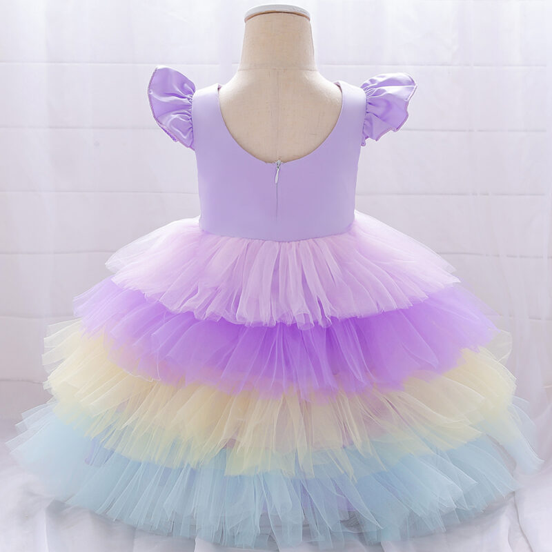 Baby / Toddler Girl Embroidered Colorful Rainbow Flutter-sleeve Sleeveless Tiered Dress