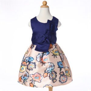 Baby / Toddler Girl Bowknot Decor Floral Print Sleeveless Dress