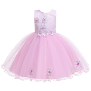 Baby / Toddler Girl Embroidered Mesh Sleeveless Party Dress