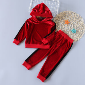2-piece Baby / Toddler Girl Solid Striped Velvet Animal Bear Hoodie and Solid Striped Velvet Pants Set
