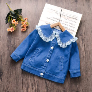 Baby / Toddler Girl Denim Lace Doll Collar Jacket