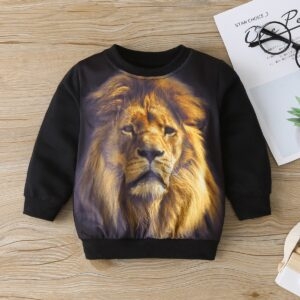 Baby / Toddler Boy Animal Lion Pattern Long-sleeve Pullover