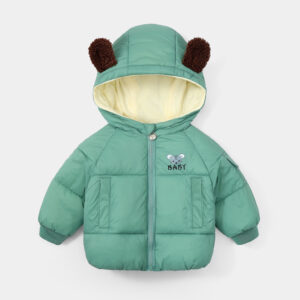 Baby / Toddler Animal Mouse Letter Print Pocket Hooded Down Coat