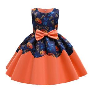 Toddler Girl Halloween Pumpkin Pattern Bowknot Ruffle Costume Dress
