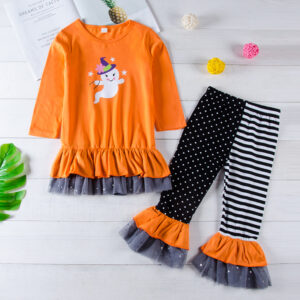 2-piece Baby / Toddler Girl Halloween Ghost Print Ruffle Long-sleeve Top and Colorblock Polka dots Striped Ruffle Grenadine Pants Set