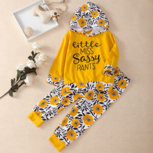 2-piece Baby / Toddler Girl Letter Floral Print Hoodie and Floral Pattern Pants Set