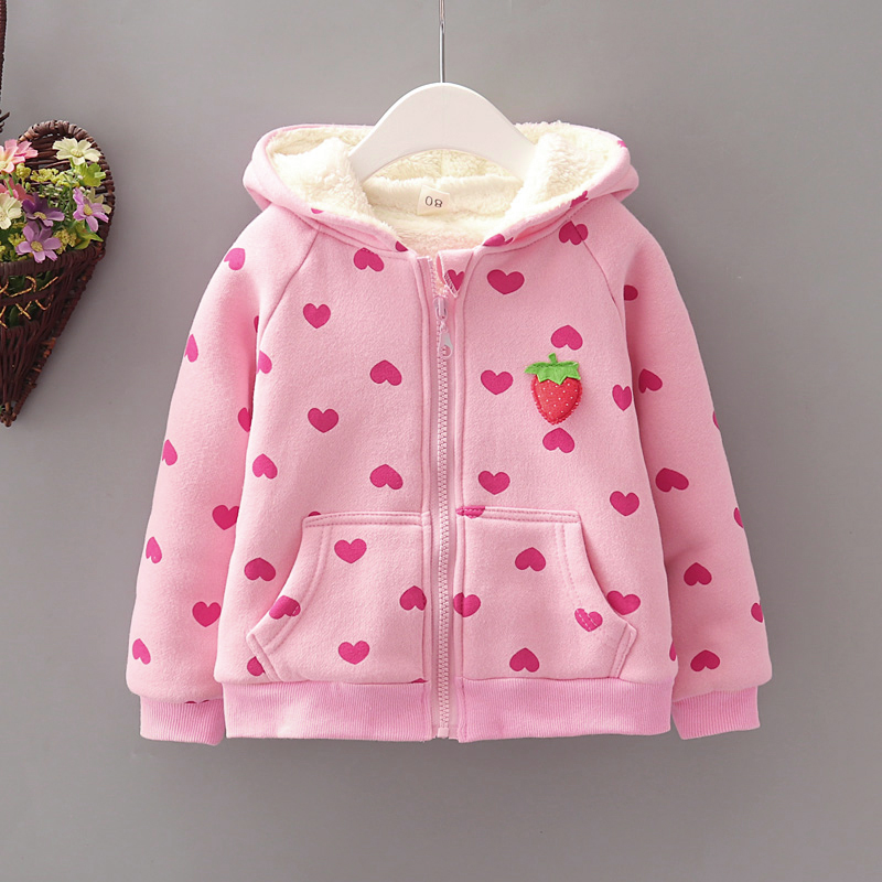 Baby / Toddler Girl Heart Strawberry Fluff Long-sleeve Coat
