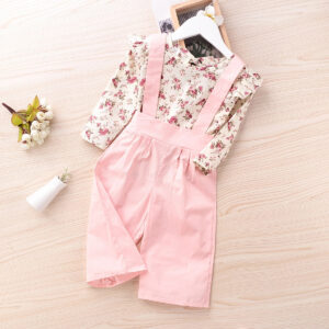 2-piece Baby / Toddler Girl Floral Allover Ruffle Bowknot Long-sleeve Top and Solid Overalls Set