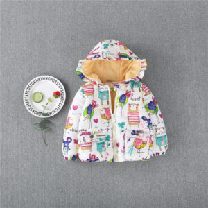 Baby / Toddler Girl Cute Cartoon Print Long-sleeve Cotton Hooded Coat