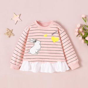 Baby / Toddler Girl Rabbit Heart Print Striped Splice Flounce Long-sleeve Pullover