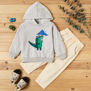 2-piece Baby / Toddler Boy Animal Dinosaur Pattern Hoodie and Solid Knitted Pants Set