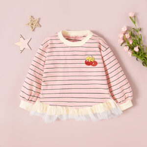 Baby / Toddler Girl Cherry Striped Splice Mesh Long-sleeve Pullover