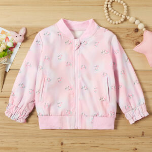 Baby / Toddler Girl Floral Print Ruffled Long-sleeve Jacket