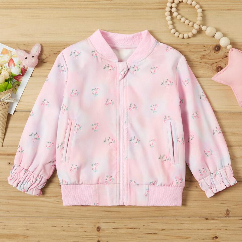 Baby / Toddler Girl Floral Print Ruffled Long-sleeve Jacket
